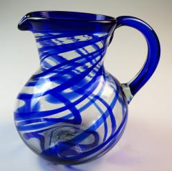 Mexican Glass Pitcher Blue Swirl
