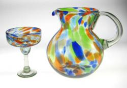 'Bright Confetti' Pitcher And Matching Margarita Glass