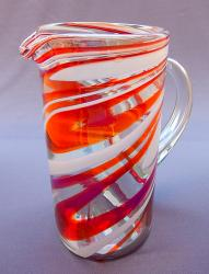 Red & White Swirl Pitcher  80 oz   Mexican Blown Glass