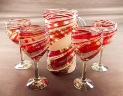 Wine glasses Hand Blown 14oz  Red & White Swirl with Pitcher str80 oz