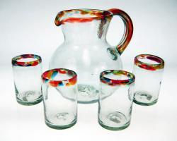 Mexican glasses, Confetti Rim Pitcher and 4 Glasses, Set of 4