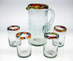 Mexican Glasses and Pitcher, Confetti Rim, Set of 4, 10oz