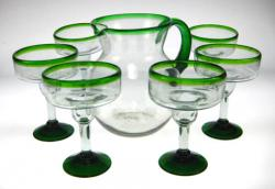 margarita glasses green rim pitcher Mexican