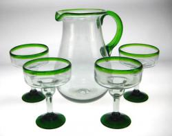 Margarita Glasses Pitcher, Green Rim, 11oz, Set of 4
