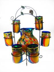 Mexican glass and pitcher fruit design set of 6