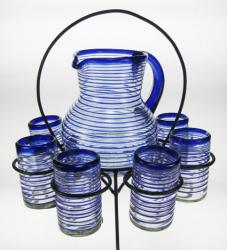 Glasses, Pitcher and Rack, Blue Spiral Rim, Set of 6, 16oz