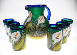 Calla Lily Painted Pitcher Set