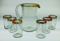 Confetti Rim Set  Pitcher with six 16oz tumblers