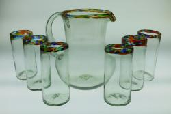 Mexican glass set Confetti Rim Bola Pitcher with six 20oz tumblers