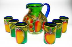 Mexican Painted Pitcher & 6 glasses, Fruit on Green background