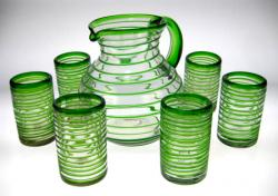 Green Spiral Rim Mexican Glasses (6) with matching Pitcher