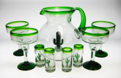 Mexican glass margarita 4 saguaro pitcher shot glasses