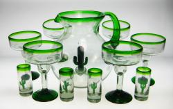 Mexican glass margarita 6 saguaro pitcher shot glasses