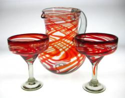 Mexican glass Margarita Glasses and Matching Pitcher, Red Swirl, Mexican hand blown