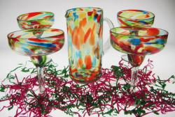 Margarita Glasses & Matching Pitcher 4 Bright Confetti Swirl