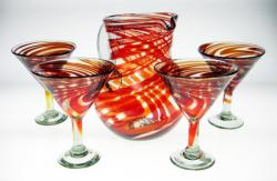 Martini Glasses & Matching Pitcher in Red Swirl Design, Set of 4