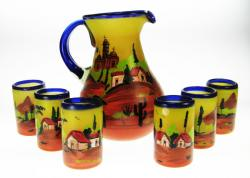 artwork hand painted Mexican Village Scene one of a kind glassware set