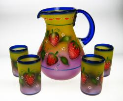 Mexican Glass Hand Painted with Strawberries  Pitcher and 5 glasses