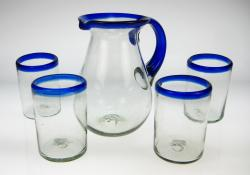 Mexican Glass Set  Blue Rim Pera Pitcher 56oz  with four 16oz tumblers