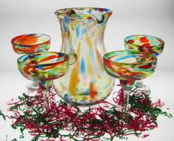 Margarita Glasses and Pitcher, Bright Confetti Swirl, Set of Four