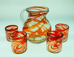 Mexican glass red swirl tumblers pitcher set of 4