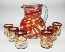 Mexican glass red swirl tumblers pitcher set of 6