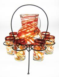 Glasses, Pitcher & Rack, Red Swirl, Set of 6, 16oz