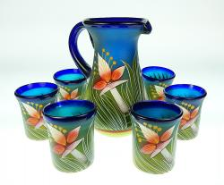Mexican Glass Juice set Orchid