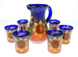 Mexican Glass Juice set Sunflower