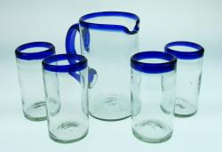 Mexican glass set blue rim Pitcher and four glasses