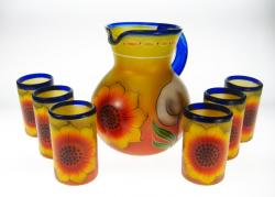 hand painted glass from Mexico with matching pitcher sunflower