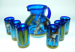 Mexican Glass six tumblers and pitcher  Hand Painted Saguaro, Agave, Poncho
