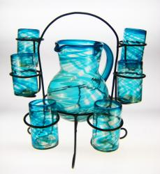 Mexican Glasses, Pitcher and Rack, Turquoise Swirl, Set of 6, 16oz