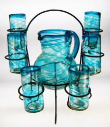 Mexican Glasses, Pitcher and Rack, Turquoise Swirl, Set of 6, 20oz