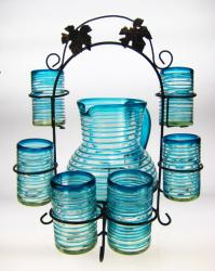 Mexican glass Glasses, Pitcher and Rack, Turquoise Spiral Rim, Set of 6, 16oz