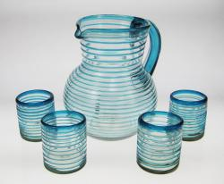 Drinking Glasses and Pitcher, Turquoise Spiral Rim, 10oz, Set of 4