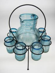 Glasses, Pitcher and Circular Rack, Turquoise Spiral Rim, Set of 6, 16oz