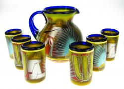Mexican glass and pitcher agave pancho design set of 6