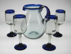Wine Glasses hand blown 11oz Blue rim 4 with Pitcher