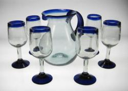 wine glasses blue rim with blue rim pitcher Mexico