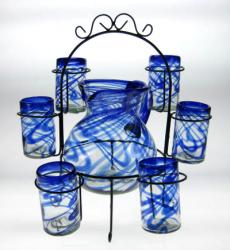 Mexican glass Blue Swirl 16oz (Set of 6) Matching Pitcher and Rack