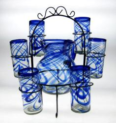 Mexican glass Blue Swirl 20 oz Set of 6 Matching Pitcher and Rack