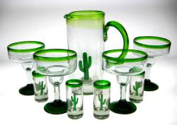 Mexican glass margarita saguaro pitcher shot glasses