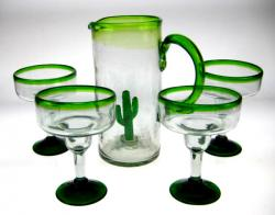 Saguaro Pitcher & Green Rim Margarita Glasses, Set of 4