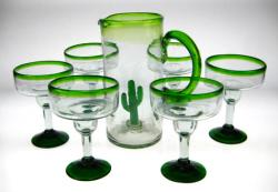 Margarita Glasses and pitcher, green rim and base,'Saguaro' design,set of six(6)