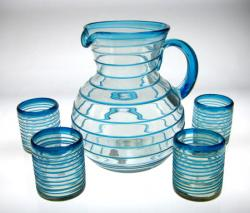 Mexican glass set  hand blown Tumblers 4 Turquoise Spiral 10oz and Pitcher