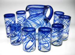 Drinking Glasses & Pitcher, Blue Swirl, Mixed Set of Eight (16oz & 20oz)