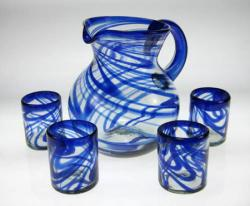 Mexican glass blue swirl tumblers 12oz with pitcher