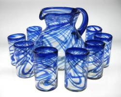 Drinking Glasses and Pitcher, Blue Swirl, 16oz, Set of 8