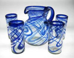 Drinking Glasses &  Pitcher, Blue Swirl, Set of 4 (20oz)